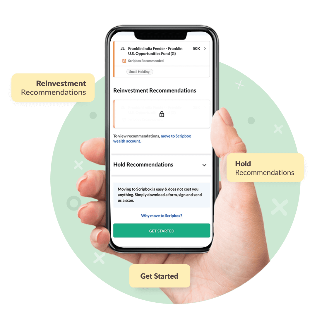 ECAS screen in Scripbox mobile app